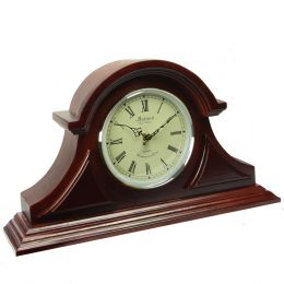 Bedford Clock Collection Redwood Tambour Mantel Clock with Chimes