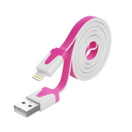 REIKO 8PIN IPHONE 6 FLAT USB DATA CABLE 3.2FT IN HOT PINK