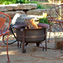 23-inch Heavy Duty Steel Fire Pit Cauldron with Stand and Cover