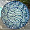 30-inch Round Metal Outdoor Bistro Patio Table with Hand-Laid Blue Tiles