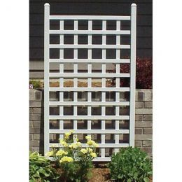 5 Ft White Vinyl Garden Trellis with Classic Lattice Design
