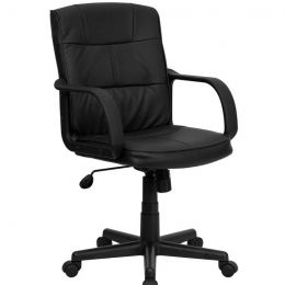 Black Mid-Back Polyurethane & Leather Office Chair with Nylon Arms