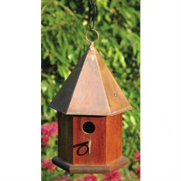 Solid Mahogany Wood Songbird Birdhouse with Shiny Copper Roof