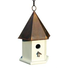White Wood Songbird Birdhouse with Brown Copper Roof
