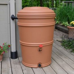 45-Gallon Plastic Rain Barrel with Flexi-Fit Rain Gutter Diverter in Terra Cotta