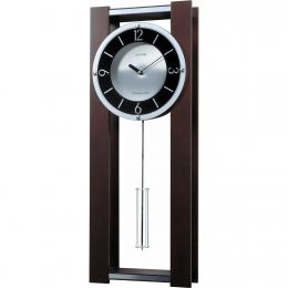 Modern Pendulum Wall Clock in Rich Espresso - Plays 18 Melodies