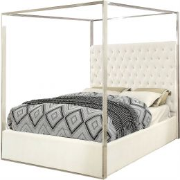 King size White Velvet Upholstered Tufted Canopy Bed Frame with Chrome Canopy