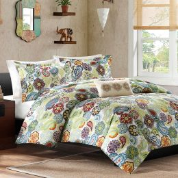 King size Multi Color Paisley 4 Piece Bed Bag Comforter Set