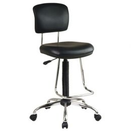 Chrome Finish Drafting Chair with Teardrop Chrome Footrest
