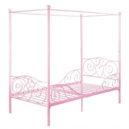 Twin size Sturdy Metal Canopy Bed in Pink