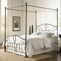Queen size Metal Canopy Bed with Headboard and Footboard in Bronze Finish