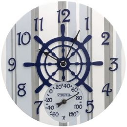 "Springfield 14"" Poly Resin Clock With Thermometer (captain's Wheel)"