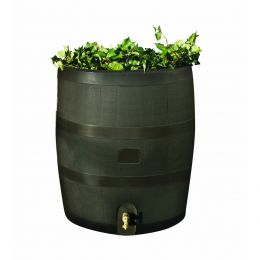 Round Rain Barrel with Built in Planter - 35 Gallon Capacity