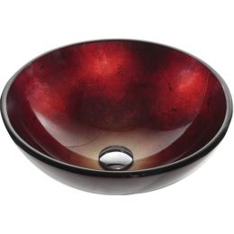 Round Red Tempered Glass Bowl Shape Vessel Bathroom Sink