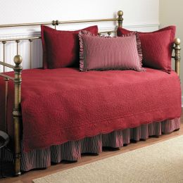 Twin size 5-Piece Daybed Cover Ensemble Quilt Set in Scarlet Red Cotton