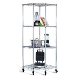 Heavy Duty 4-Tier Corner Storage Rack Shelving Unit with Casters
