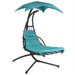 Teal Single Person Sturdy Modern Chaise Lounger Hammock Chair Porch Swing