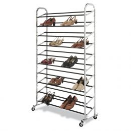 50 Pair Shoe Rack Tower in Chrome - Wheels Included