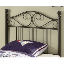 Twin size Metal Headboard with Scrolling Accents in Dark Brown
